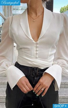 Solid Lantern Sleeve Knotted Shirt Women's Online Shopping Offering Huge Discounts on Dresses, Lingerie , Jumpsuits , Swimwear, Tops and More. Trend Fashion, Look Fashion, Fashion Outfits, Womens Fashion, Fashion Fall, Girl Fashion, T Shirt Streetwear, Mode Streetwear, Knotted Shirt
