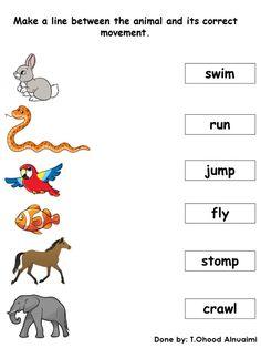 English Grammar Test, English Class, English Lessons, English Vocabulary, English Worksheets For Kindergarten, Kindergarten Science, Kindergarten Worksheets, Preschool Activities, Movement Of Animals