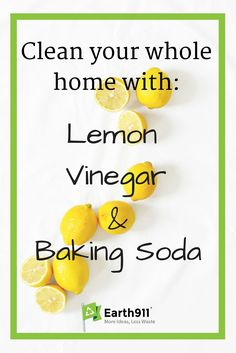 Lemon, vinegar and baking soda are among the best all natural cleaners out there. Use these easy recipes to start cleaning with them in your home today. Deep Cleaning Tips, House Cleaning Tips, Natural Cleaning Products, Spring Cleaning, Cleaning Hacks, Natural Cleaning Solutions, Natural Cleaning Recipes, Homemade Cleaning Products, Green Cleaning