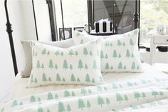"Mint Trees Cotton Fabric - 57"" Wide - Northern Europe Style - Christmas Fabric - By the Yard - 67019"