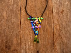 Dichroic Fused Glass Necklace with Chrystal by PureLightStudio, $40.00