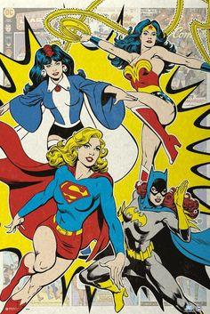 Justice League Of America - JLA - DC Comics Poster / Print (Retro Style - The Superhero Ladies - Wonderwoman, Zatanna, Supergirl & Batgirl):