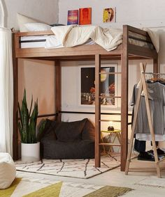 7 Decorating Ideas For Your Grown-Up Loft Bed Best Lofted Beds For Adults - Queen Size Loft Bed Ideas Small Room Bedroom, Bedroom Loft, Trendy Bedroom, Small Rooms, Bedroom Ideas, Bed Rooms, Bedroom Decor, Cozy Bedroom, Queen Loft Beds