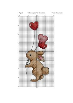 Cute rabbit with balloon cross stitch pattern Cross Stitch Bookmarks, Cross Stitch Cards, Cross Stitch Kits, Counted Cross Stitch Patterns, Cross Stitch Designs, Cross Stitching, Cross Stitch Embroidery, Small Cross Stitch, Cross Stitch Needles