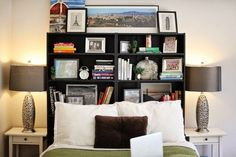 Use bookshelves as a headboard - extra storage space in the bedroom (including the hidden shelves below!)   No Storage, No Problem: Workarounds for Renters for Every Room
