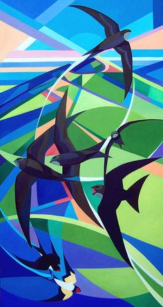 Bird Art Print featuring the painting Swifts And Swallows by Alison Ingram abstracto Shop for Wall Art, Home Decor, Tech Accessories, and Cubism Art, Wildlife Art, Geometric Art, Bird Art, Saatchi Art, Modern Art, Abstract Art, Abstract Paintings, Art Paintings