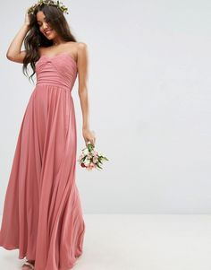 Option A) ASOS WEDDING Bow Front Bandeau Maxi Dress (sponsored)
