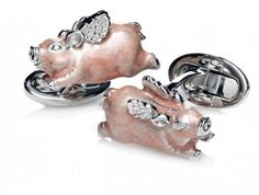 When Pigs Fly, ANYTHING can happen. The impossible is possible. These Jan Leslie signature silver cufflinks are crafted from premium 925 sterling silver with anti-tarnish rhodium finish and feature pink hand-painted enamel. With these links, add a bit of whimsy and a self reminder that anything is possible in this world. You don't need to believe in fantasy, but you do need to embrace the idea that whatever you can imagine can come true. Each pair of When Pigs Fly Cuff Links comes elegantly…