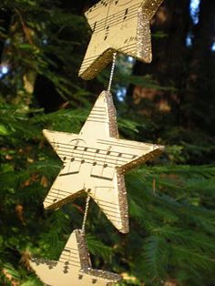 sheet music star ornaments