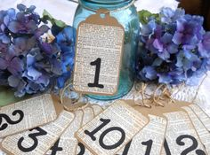 Wedding Table Numbers Rustic Shabby Chic Wedding Reception Tags Vintage Inspired - Set of 12