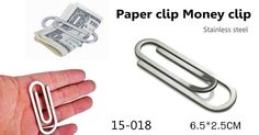 Paper clip, funny money clip. Stainless steel Dimension: 6.5*2.5cm www.ideagroupigm.com