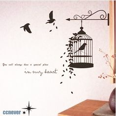 Flower Round Birdcage and Birds----Removable Graphic Art wall decals stickers home decor Creative Wall Painting, Wall Painting Decor, Diy Wall Art, Bedroom Door Decorations, Mini Canvas Art, Wall Drawing, Paper Flower Backdrop, Wall Stickers Home Decor, Geometric Wall
