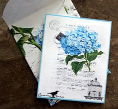 Hydrangea Greeting Card String and Button by wildabouttags on Etsy, $6.00