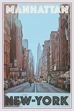 Poster Manhattan NY Vintage | Retro Poster New York Manhattan | 950+ Vintage Travel posters and more than 65 countries | Free shipping