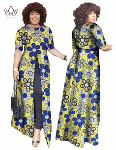 African Dashiki African Dresses Casual Straight Split Printing African Print  Cotton Clothing Chemise Africaine Femme BRW WY852 c42a61ad3