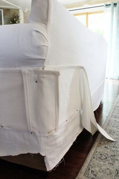 How to make a sectional slipcover, step-by-step with Confessions of a Serial Do-it-Yourselfer Reupholster Furniture, Furniture Slipcovers, Furniture Repair, Furniture Covers, Upholstered Furniture, Furniture Makeover, Diy Furniture, Chair Covers, Furniture Design