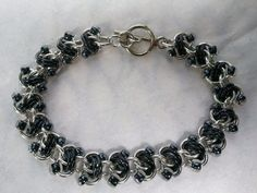 Black rapid track chainmaille bracelet by galiam34jewelry on Etsy, $18.00