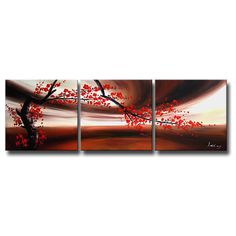Add elegance to any space with the gorgeous 'Red Plum Blossom' gallery wrapped canvas art set. This hand-painted work consists of three separate panels that combined together create the image of a beautiful red plum blossom.