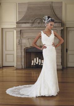 Modish V-Neck Lace Satin Mermaid Chapel Train Wedding Dresses - Wedding Dresses