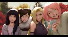 Featuring Konoha girls Hinata, Tenten, Ino, and Sakura (Naruto the last) for the last artwork I did in So fun to play with warm-sunlight touch in . Naruto Uzumaki, Anime Naruto, Naruto Comic, Naruto Fan Art, Naruto Girls, Hinata Hyuga, Sakura And Sasuke, Naruto And Sasuke, Sakura Haruno
