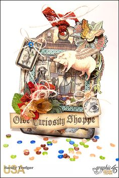 Graphic 45 Old Curiosity Shoppe Shaker Tag - Scrapbook.com