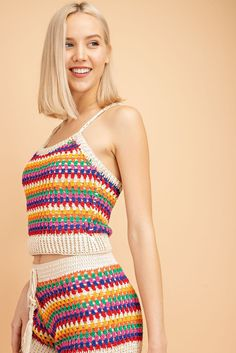 Diy Crafts - Stripped Crochet Shorts and Top is awesome for that summertime party. Model wearing a small. Crochet Fringe, Crochet Shorts, Crochet Clothes, Knit Crochet, Crochet Top Outfit, Crochet Outfits, Crochet Bikini Top, Crochet Tops, Crotchet Crop Top
