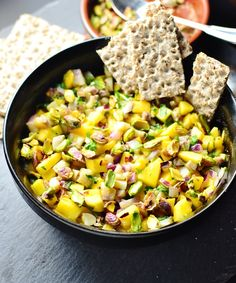 This Herring Mango Party Salad offers an unusual combination of sweet, savoury sharp flavours! It's also simple to make and healthy. Kumquat Recipes, Mango Recipes, Slaw Recipes, Healthy Salad Recipes, Seafood Recipes, Easy Recipes, Bienenstich Recipe, Herring Recipes, Party Salads