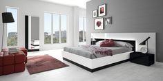 Camera da letto nelle tonalità rosso e grigio n.06