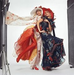 1971.  Model Jeanette Christiansen and Isa Stoppi wears Haute Couture Spring/Summer.   Photo by Chris Von Wagenheim