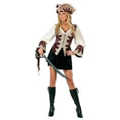 Attractive short Pirate outfit. There is something about a Pirate hat that gives the costume the wow factor!