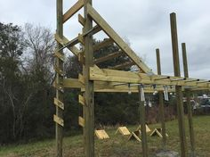 The #devilsteps are up! Climb the #salmonladder then go down the #devilsteps and across the #monkeybars as one continuous #obstacle  #GOHQ #staugustinebuzz #fitness #obstaclecourse #ninja #americaninjawarrior #anw by gohq