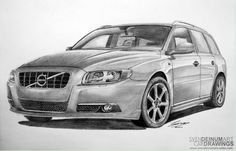 V70 Ocean Race edition. Pencil drawing by Sven Deinum. June 2012