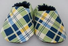 Navy Blue and Green Plaid Baby Boy Slipper Shoes by DumaisDesigns, $17.25
