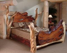 Log Furniture - Burl Aspen 4 Post Log Bed with Elk Markings