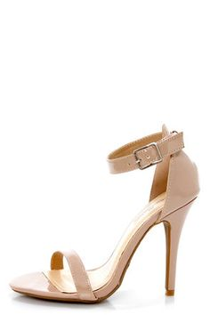 Anne Michelle Enzo 01 Nude Patent Single Strap Heels lulus.com: $23