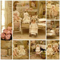 Dentelle blanche et ourson rose, Une poupée toute de dentelle blanche vêtue profitait d'un bel après-midi pour converser avec ses amies les peluches.