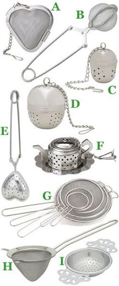 There are so many types of tea strainers. This is a perfect spot to learn about the different types.
