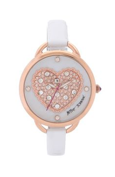 Betsey Johnson Pavé Heart Dial Leather Strap Watch, 40mm available at #Nordstrom