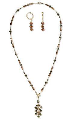 Single-Strand Necklace and Earring Set with Pyrite Gemstone Beads, Cultured Freshwater Pearls and SWAROVSKI ELEMENTS