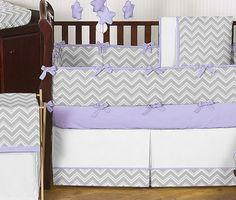baby girl crib bedding sets  gray | ... Gray and Purple Zigzag Girl Boy Gender Neutral Baby Bedding Crib Set