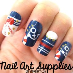 Nautical Themed Anchor Fake Nails - False Artificial Acrylic Long Nail Set $8.99