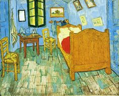 Vincent's Bedroom in Arles (#2)  - Vincent van Gogh - Painted in Early Sept 1889 while in the Saint-Rémy Asylum - Current location: Chicago, Art Institute of Chicago ..........#GT - NOTE: He painted 3 oils in his bedroom series. The original done in Oct 1888 and the second one were 72 x 90 cm, the 3rd 56 x74 cm. While the composition is the same look closely and you see the subject matter in the hanging pictures is different. Visit http://www.vggallery.com/painting/p_0482.htm for more info