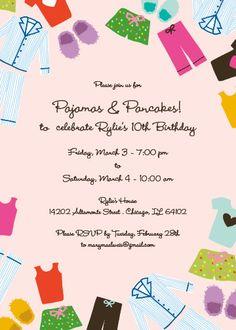 Pajamas & Pancakes Kid's Birthday Party Invitation