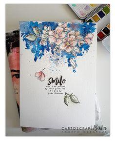 Une page d'art journal mêlant fleurs, patouille et peintures par Binka - Blog  Cartoscrap