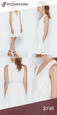 NWT Joie White Cotton Dress A feminine sundress in lightweight cotton gauze with lace detailing. Featuring an empire waist, v-neckline, and two side slant pockets.  Details:  100% cotton gauze with lace. Dry clean only. Imported. No trades; price firm - this item is new with tags. Joie Dresses Mini