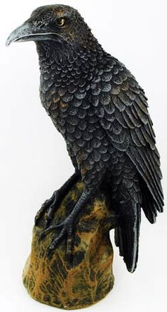 """Sacred in a variety of cultures throughout the world, the Raven is a symbol of protection, wisdom, and magic, and brings back the sun. Place this statue in your home or upon your altar in celebration of its sacred mystery. 6 1/2"""" x 2"""" x 3"""""""
