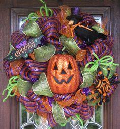"halloween mesh wreaths | Deco Mesh HALLOWEEN ""SPOOKY"" WREATH with Deco Mesh Ribbon and Tubing"