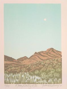 """MOON / Ortiz Mtns"" : Jan Vanderburg Printmaker : www.janvanderburgprintmaker.com"