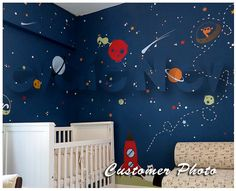 "Space Cats Wall Decals Theme with Aliens and Stars is a customized version of extremely popular Outer Space Wall Decals. It is perfect to design your child's nursery with large bright all favorite constellations and cats astronauts collecting stars. Measures: 162""w x 78""h. Comes with test decal. Removable. Just peel and stick! Free test decal is included."