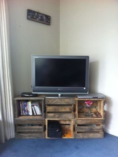 Diy tv stand ideas tv table tv wall mount ideas modern and chic tv and me. Wooden Crates Tv Stand, Crate Tv Stand, Diy Tv Stand, Wood Crates, Small Tv Stand, Pallet Tv Stands, Corner Tv Stands, Cool Tv Stands, Corner Tv Stand Ideas